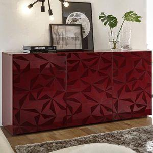 BUFFET - BAHUT  Bahut rouge laqué 3 portes design NINO 3 L 181 x P