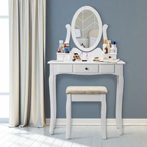 COIFFEUSE LANGRIA Coiffeuse avec 3 Tiroirs 1 Tabouret-miroir