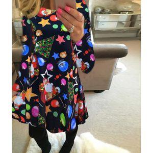 ROBE Automne Hiver Robe De Noël Femme Taille Plus Impri