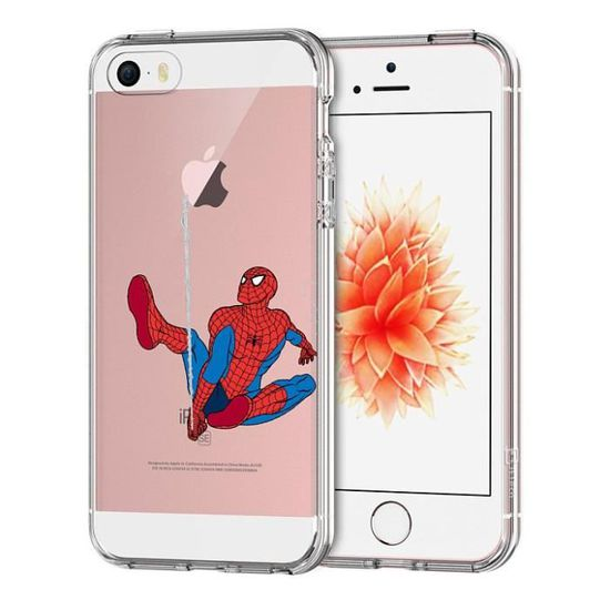 Coque Apple iPhone 5 - 5S - SE,Spiderman Doux TPU Silicone ...