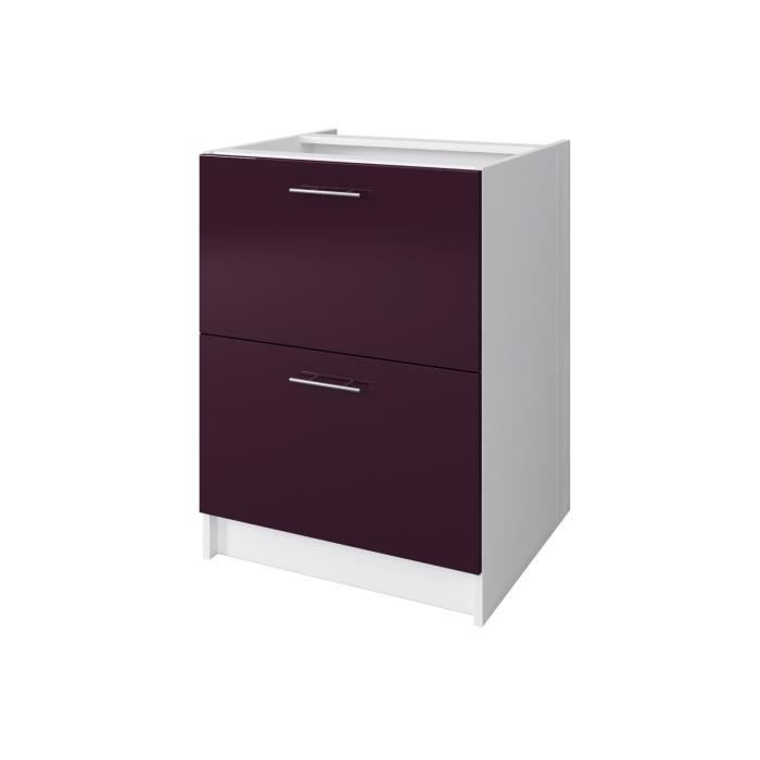 city meuble casserolier l 60 cm aubergine laqu achat. Black Bedroom Furniture Sets. Home Design Ideas