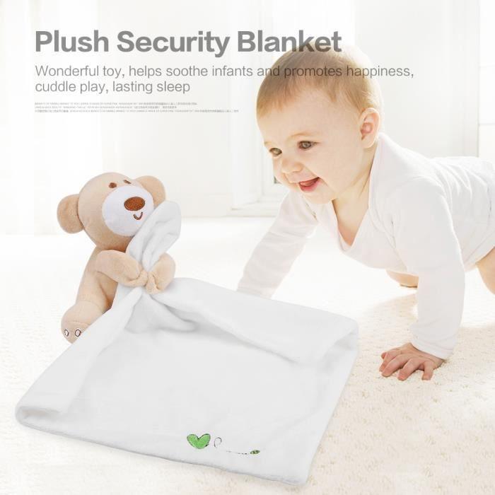 Couverture bébé Belle ours de sécurité Consolateur Couverture apaisante(Blanc)