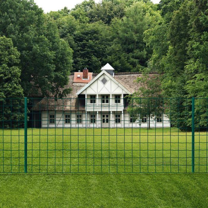 Haute qualité-Clôture de jardin - Clôture Euro -CLÔTURE - GRILLAGE Acier 20x1,2 m Vert classique💎4814