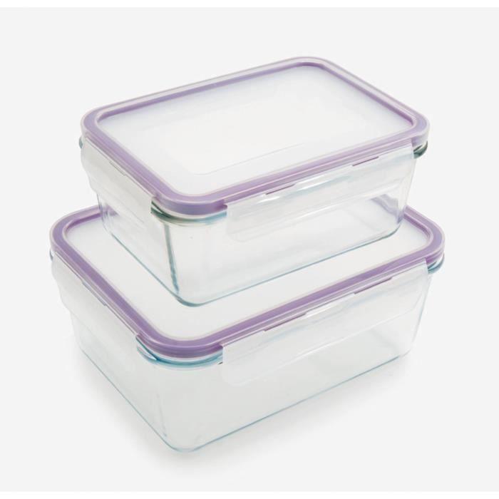 Set de 2 boîtes en verre avec couvercle Kitchen Friday - Blanc