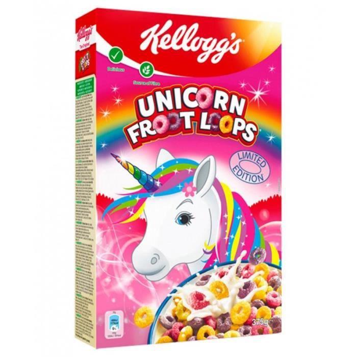 Kellogg's Unicorn Froot Loops Série Limitée 375g (lot de 3 paquets)