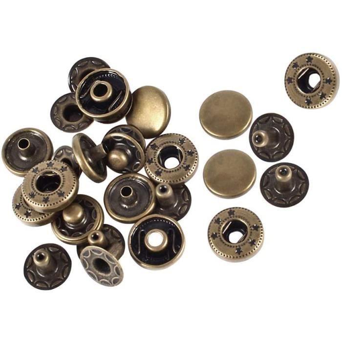 Weddecor 17mm Bronze Boutons Pression S-RESSORT 4 Parties Boutons-Pression Cousue Boutons Pour Maroquinerie, Couture, Vestes,...
