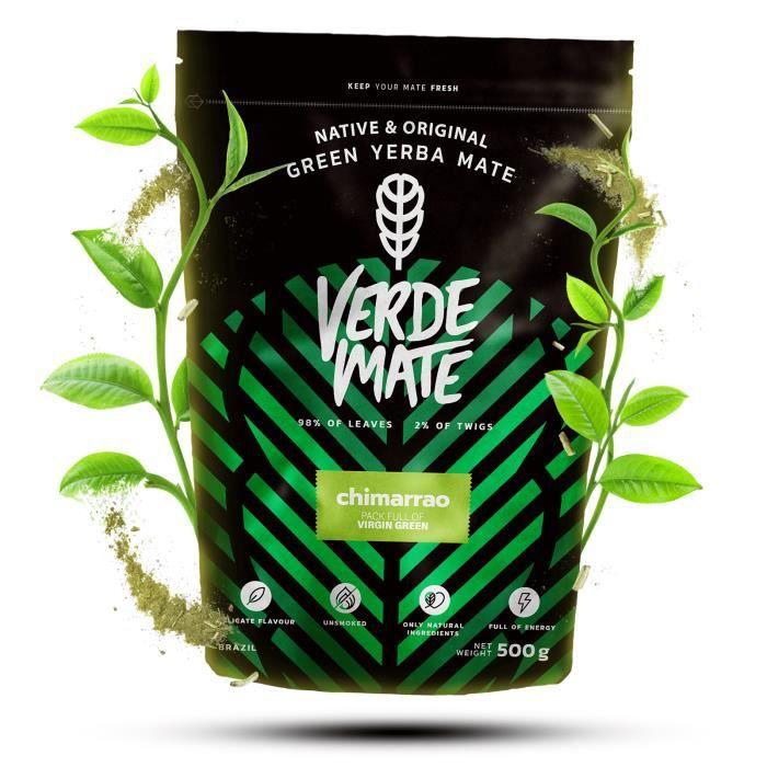 Yerba Maté Verde Mate Chimarrao - Verde Mate Chimarrao 500g - Yerba Maté du Brésil - Haute qualité - Forte stimulation - Sans fumée