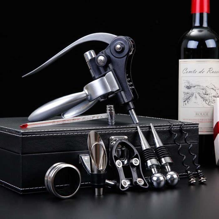 Antique Boîte en PU leather de vin Accessoires Ensemble cadeau,vin Tire-bouchon Bouchon à vin Aérateur et bec verseur Ensemble 9set