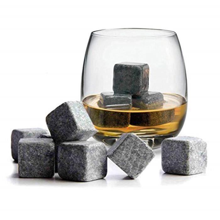 L821 Lot de 9 glaçons pierre pour whisky - stéatite naturelle - avec pochette en tissu – blanc