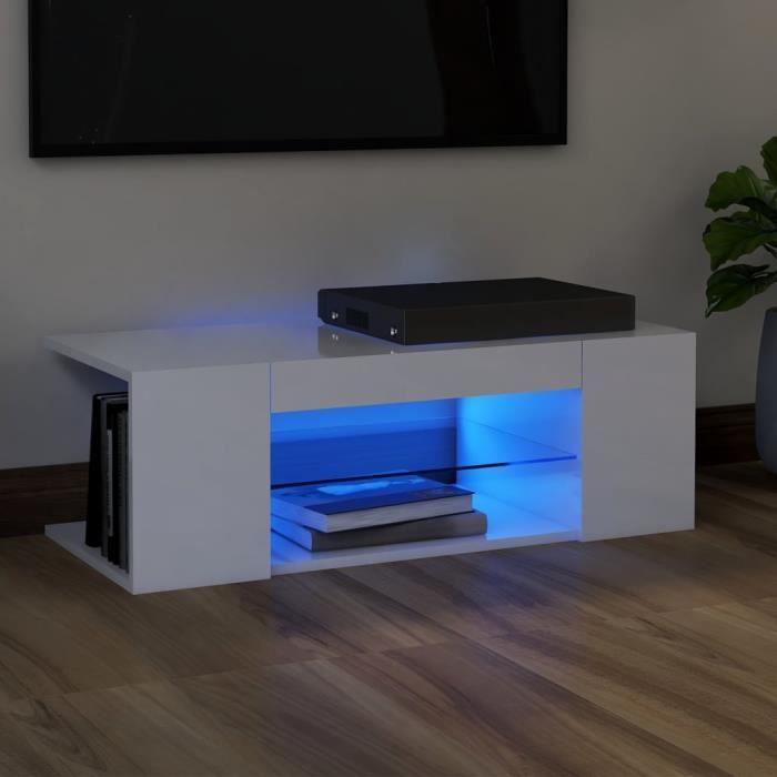 Meuble TV avec lumières LED Blanc brillant 90x39x30 cm