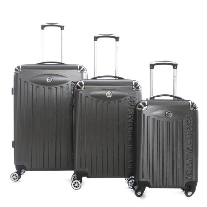 Set de 3 Bagages en ABS Geographical Norway Softless Gris