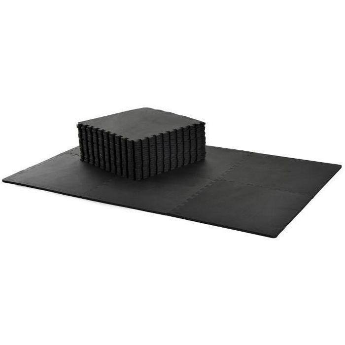 Tapis interconnectables en mousse 62 cm x 62 cm x 13 mm avec bordures tapis puzzle 25 pièces 9,3 m² de surface noir neuf 11BK