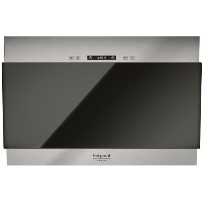 SHOT CASE - HOTPOINT HHVP6.4FLLK Hotte décorative - 384 m3 air - h max - 63 dB max - 3 vitesses - L 60 cm - Inox + verre noir