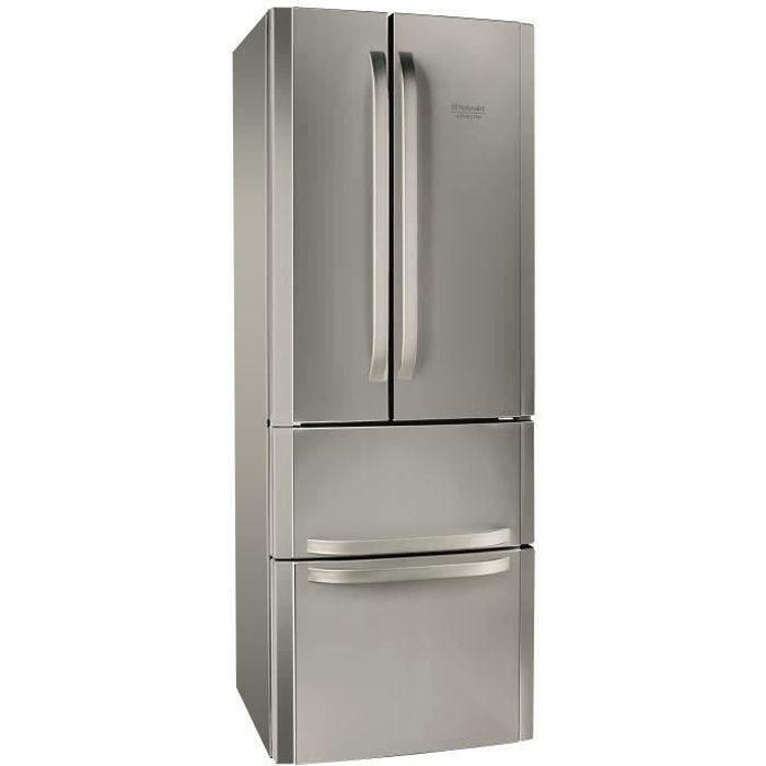 HOTPOINT E4DXC1 - Réfrigérateur multi-portes - 399L (292+107) - Froid ventilé - A+ - L 70cm x H 195.5cm - Silver
