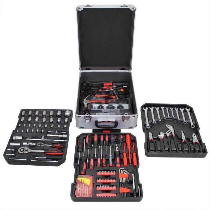 Malette à Outils, Valise de Bricolage, 251 outils, Avec mallette en aluminium et poignée télescopique, Matériau: Acier au carbone