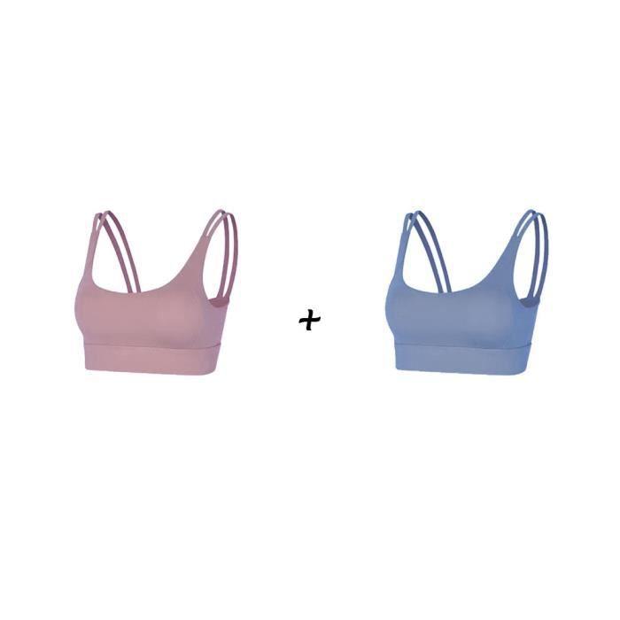 2 pièces Femme Sous vetements Bustier corset pour Jogging Yoga Gym Fitness(Couleurs différentes et Même taille)-M-Violet-Bleu