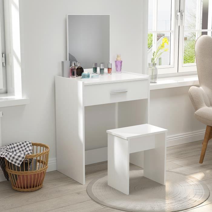 Coiffeuse avec Tabouret - Ensemble de Table de Maquillage - Bois, Miroir, Grand Tiroir - Blanc - Mondeer