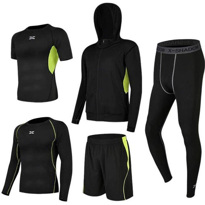 Ensembles De Sport de Suduation de Fitness Vêtements Entraînement Doux Séchage Rapide Respirant Course à Pied pour Homme 5 pcs Vert