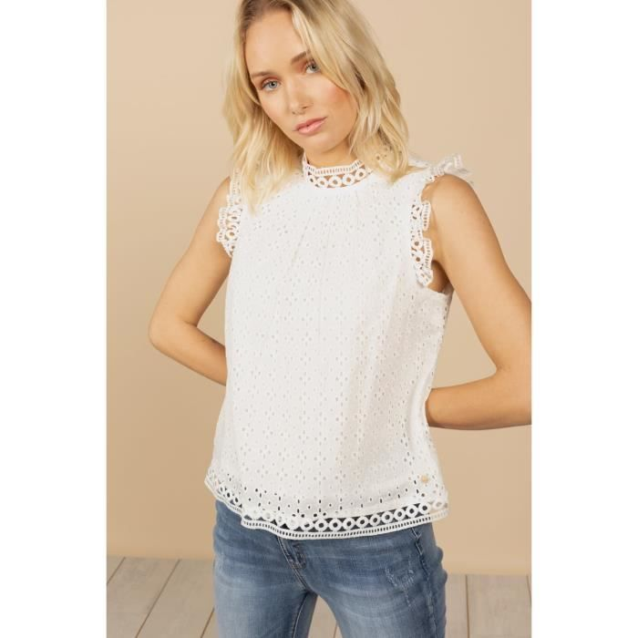 DEELUXE Blouse à broderie anglaise LADY White