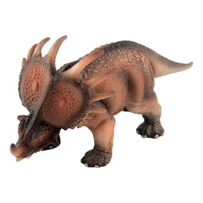 1 pc Artificiel Styracosaurus Modèle En Plastique Dinosaure Cadeau D'anniversaire pour Enfants Garçons (Brun Clair) JOUET DE BAIN