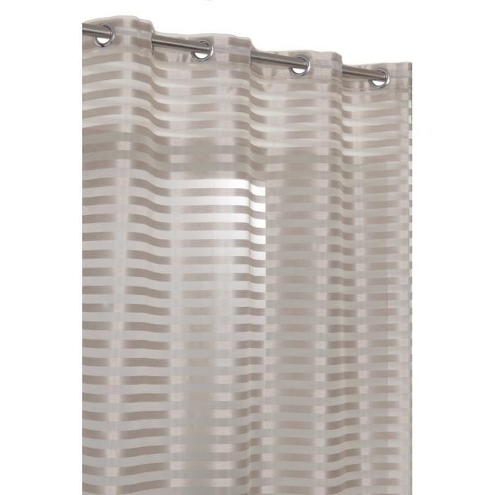 Rideau Voilage 140x260cm au Rayures Opaques Aspect Soie Beige Bronze