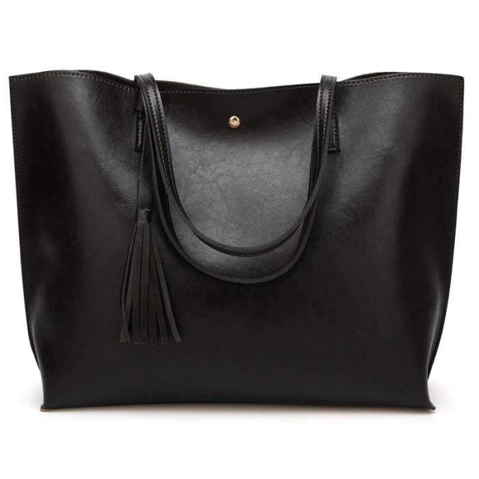 Grand Sac a Main Femme PU en Cuir, Sac Fourre-Tout Portes Epaule Bandouliere Simple(Noir)