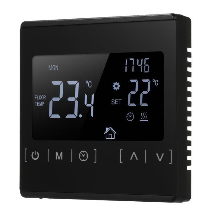 Type1 black -Thermostat s mart à écran tactile LCD,chauffage électrique au sol,régulateur de température pour maison