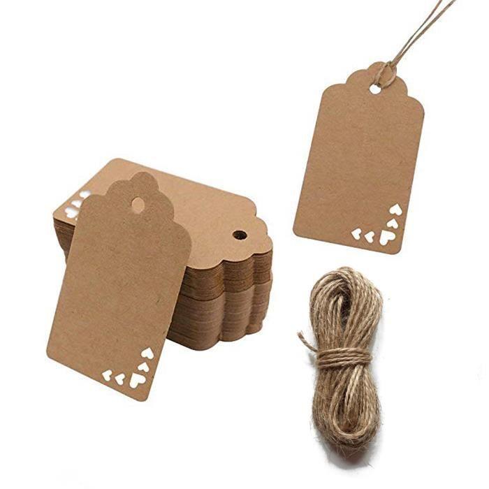 JER Papier Kraft /étiquettes Cadeau r/étro Creux C/œur Autocollants Cartes avec 66/Pieds Ficelle de Jute pour Mariage f/ête 100/pcs