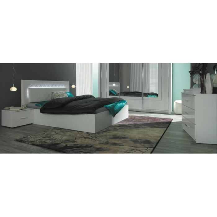Price Factory Panarea Lit Design Avec Led 2 Chevets Commode Sommier 180x200 Cm Ensemble