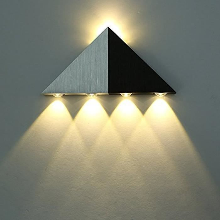lightess applique murale 5w led triangle lampe design moderne eclairage d coratif en aluminium. Black Bedroom Furniture Sets. Home Design Ideas