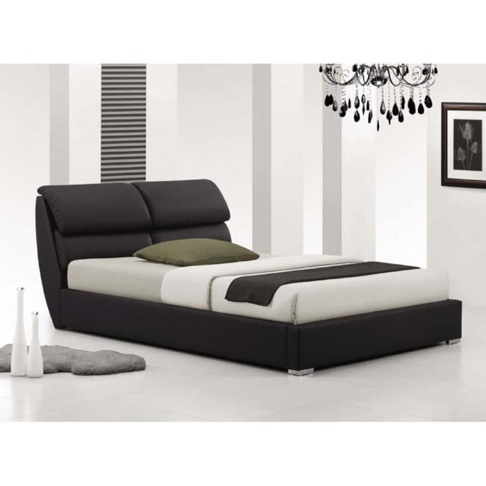 lit design eros simili cuir noir sommier 160x200 achat. Black Bedroom Furniture Sets. Home Design Ideas