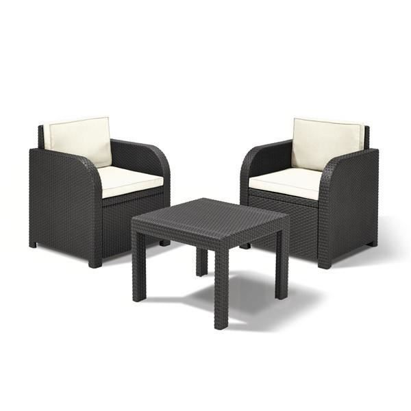 salon de jardin noir 3 pi ces en r sine tr ss e achat vente salon de jardin salon de jardin. Black Bedroom Furniture Sets. Home Design Ideas