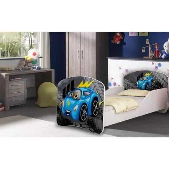 lit enfant mini voiture bleu sommier matelas 140x70. Black Bedroom Furniture Sets. Home Design Ideas