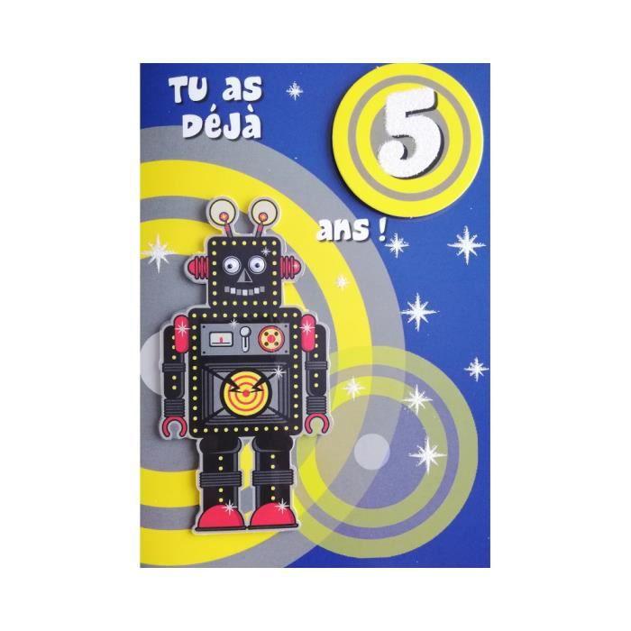 Carte De Voeux Enfant Anniversaire 5 Ans Garcon Achat Vente Carte Correspondance Carte De Voeux Anniversaire Cdiscount