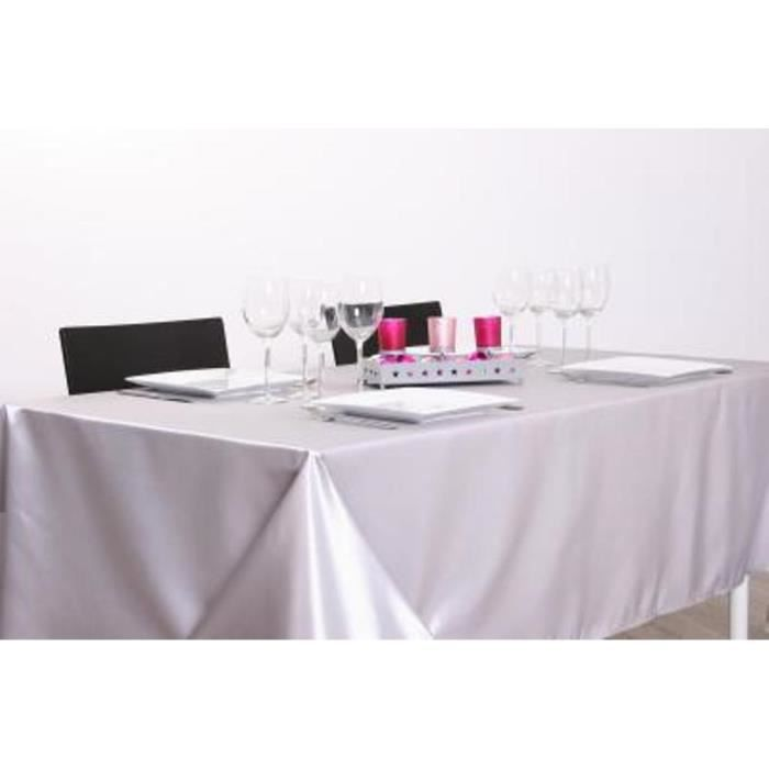 nappe argent e rectangulaire 140x240xm achat vente nappe de table cdiscount. Black Bedroom Furniture Sets. Home Design Ideas