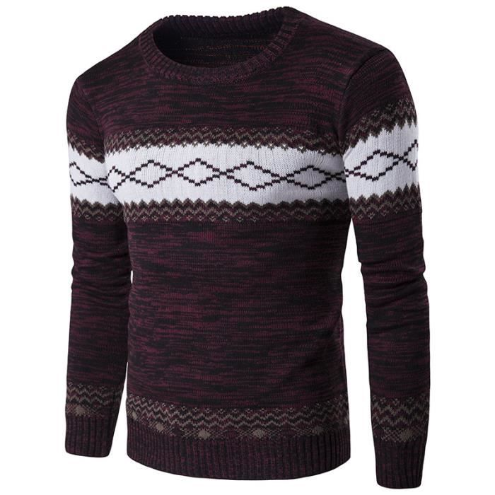 PULL Pullover  Homme Couleur Patchwork Slim Fit Manche