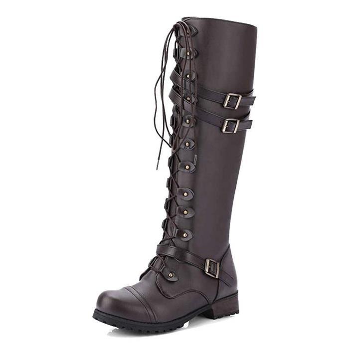 Mode Platforme Lacets Classiques Bottes Automne Longues Talon Hiver Femme Martin Plate Bottes Chaussures Rétro Boots F13ulKc5JT