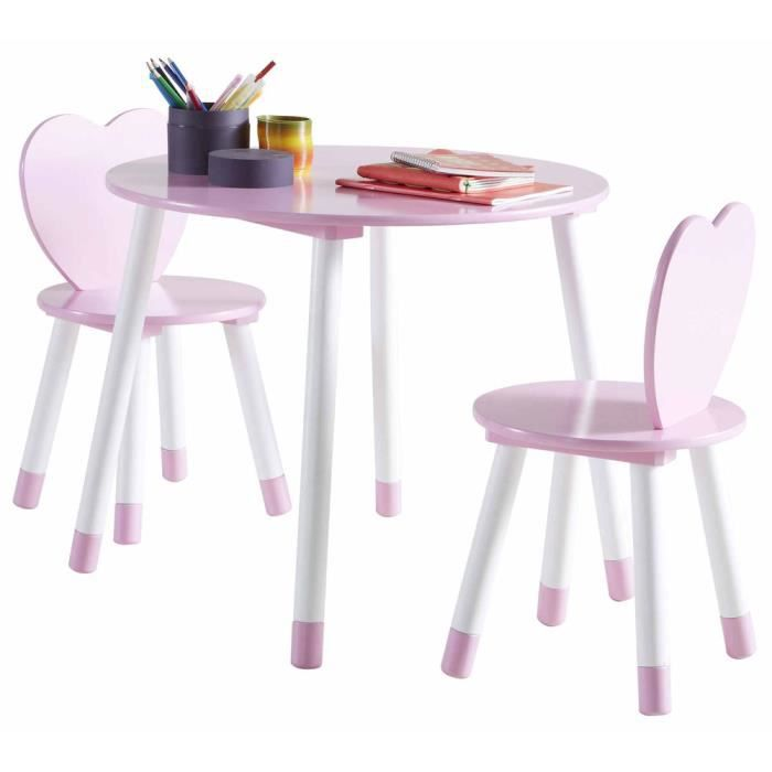 Set de table 2 chaises enfant princess en bois blanc et for Set de table pour enfant