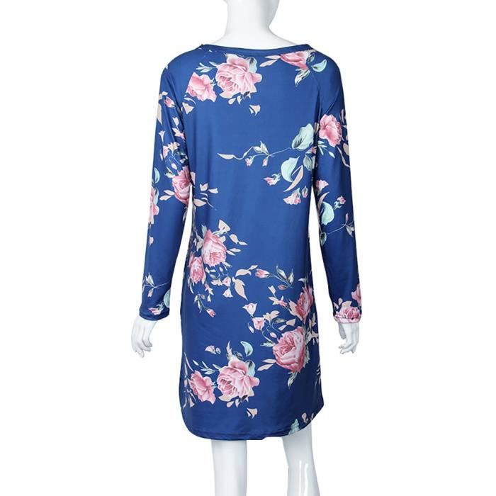 Womens Spring Floral Print Pocket Long Sleeve Mini A-line Dress 2LGXJ1 Taille-36