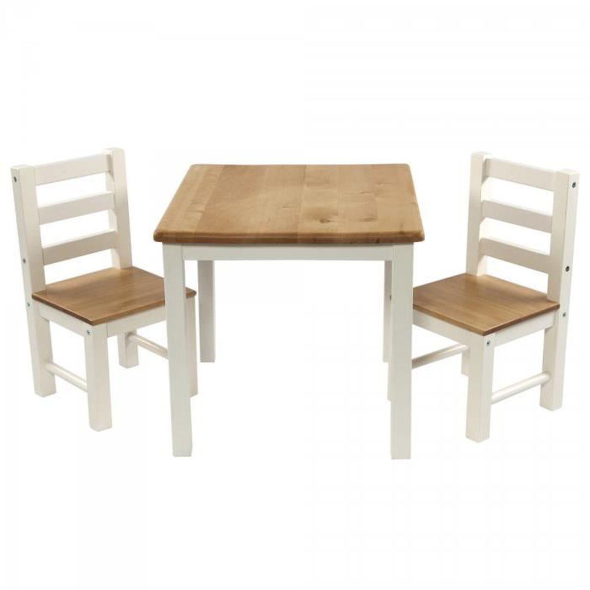 Ensemble Table Et Deux Chaises En Bois Pour Enfants Design