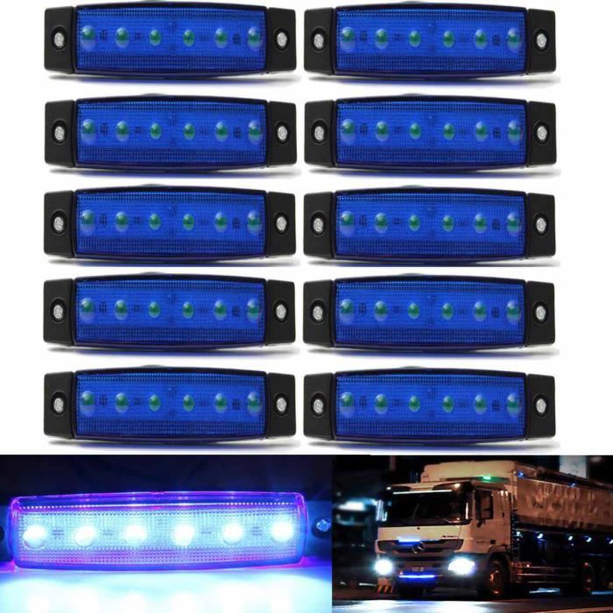 u 10pcs 24v 0 5w 6 smd led feux de gabarit laterale pour camion camper shassis remorques bleu. Black Bedroom Furniture Sets. Home Design Ideas