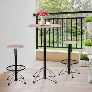 MANGE-DEBOUT Ensemble de bar 3 pcs bois, Haute de bar et 2 chai