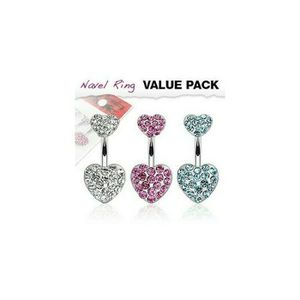 14ga Court Manche 316 L Acier Chirurgical CZ Gems 5-Pack Belly Button Ring