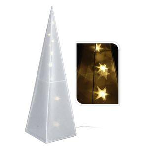 BOULE DE NOËL pyramide éclairé avec hologramme étoiles