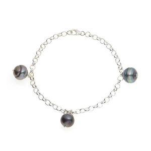 BRACELET - GOURMETTE Bracelet 3 Perles de Tahiti en Argent Massif 925Bl