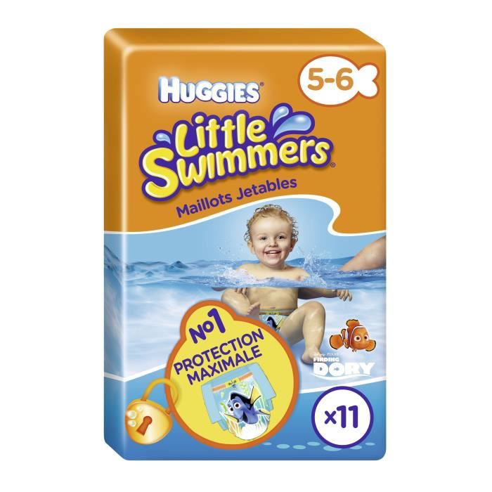 Huggies little swimmers taille 5 6 11 couches pour le for Pampers couche piscine