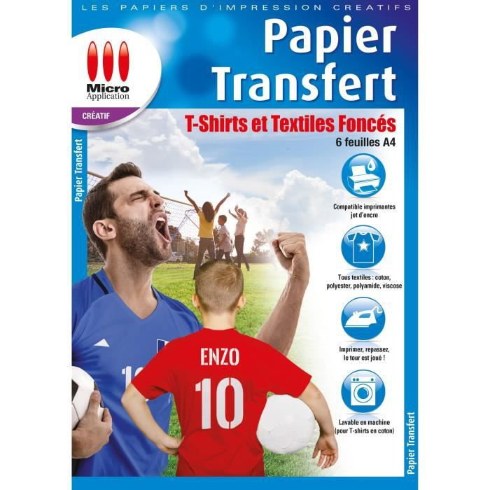 Papier Transfert T-Shirt pour Textiles de Couleur - 6 feuilles de papier A4 Transfert pour coton foncé
