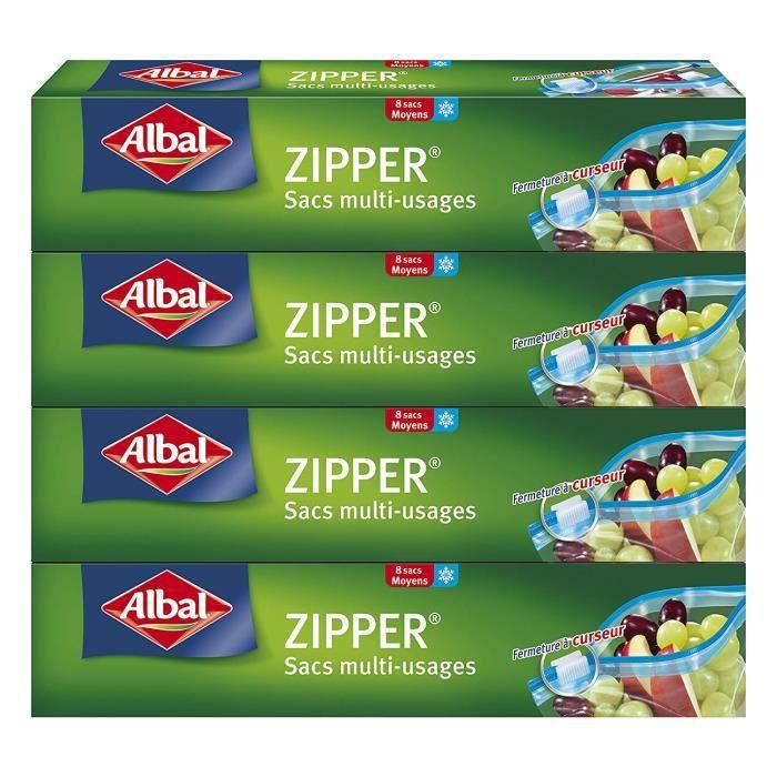 Albal 8 Sacs Multi-Usages, Curseur Zipper, Hermétique, Lot de 4 Boîtes, 3 L - 4008871213099