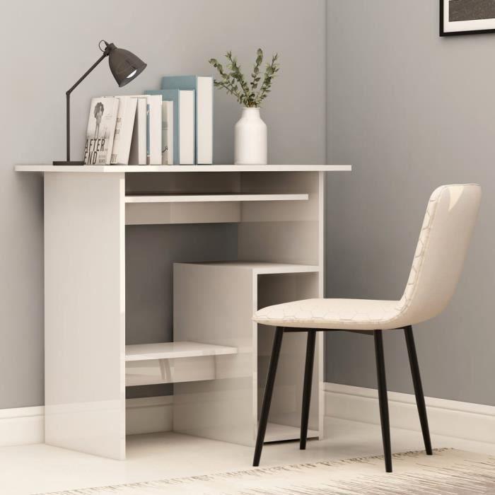 Table de bureau avec rangements étagères Blanc Brillant Laqué adolescent jeune chambre salon ordinateur