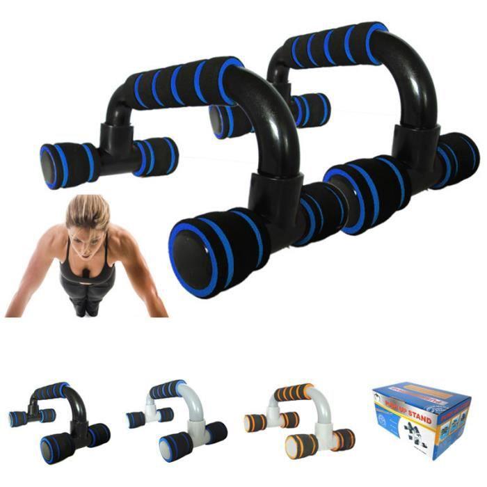 Poignées de Support Barres de Push Up Antiglissante pour Musculation des Bras, Épaules, Dos, Poitrine,Triceps ( 1 paire) Bleu